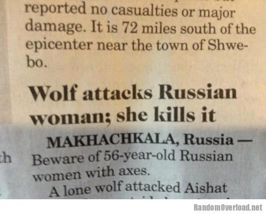 RussianWomanVsWolf